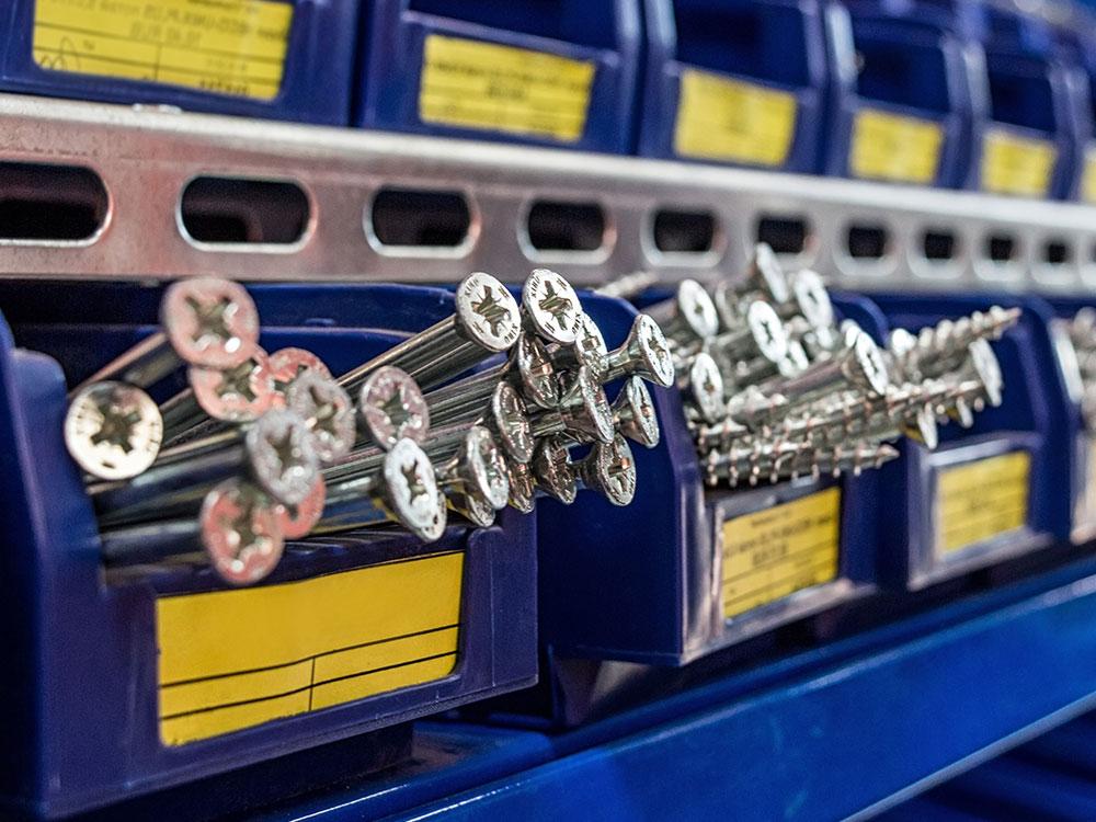 Racks of Screws Closeup