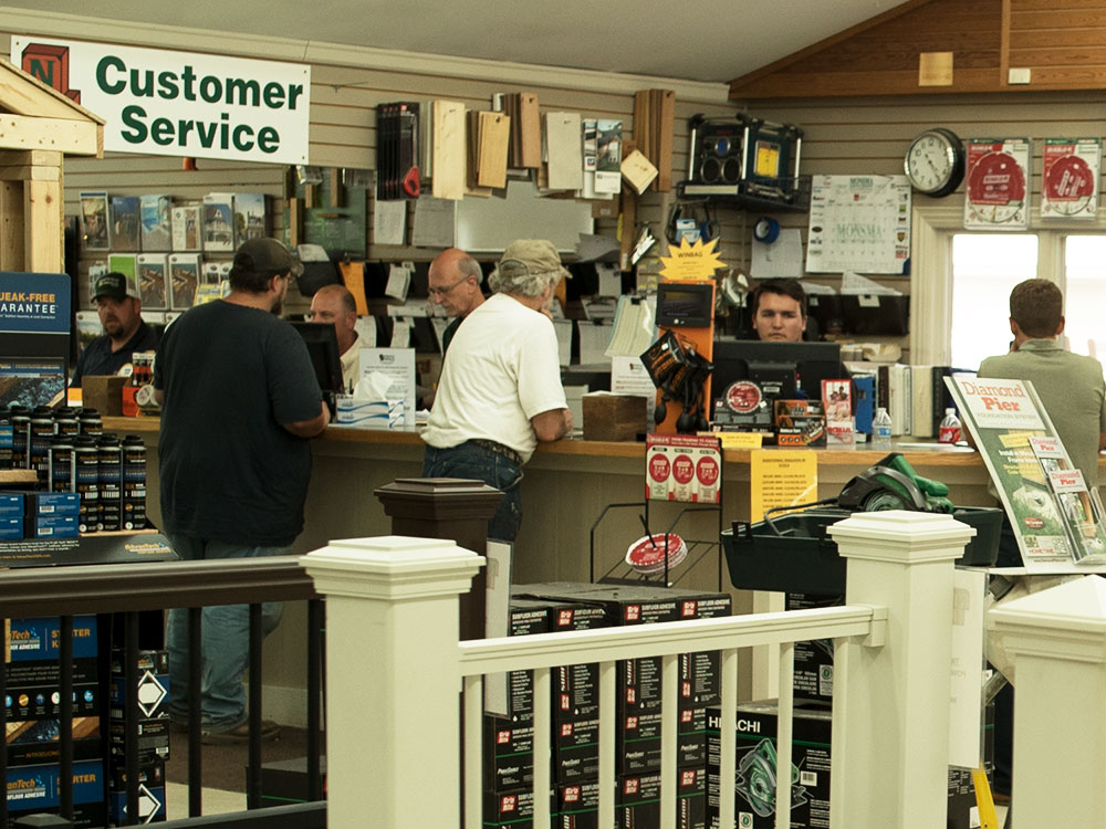Northville Lumber interior, customer service desk