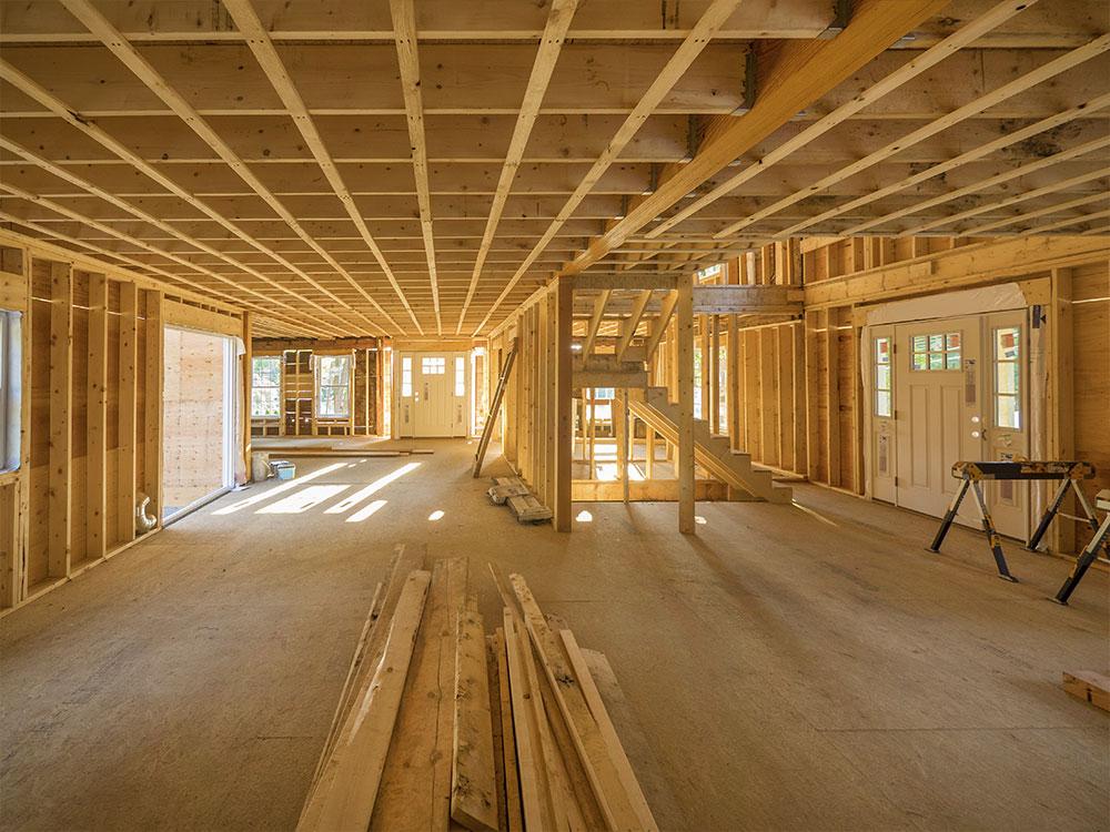 House interior under constrution, framing