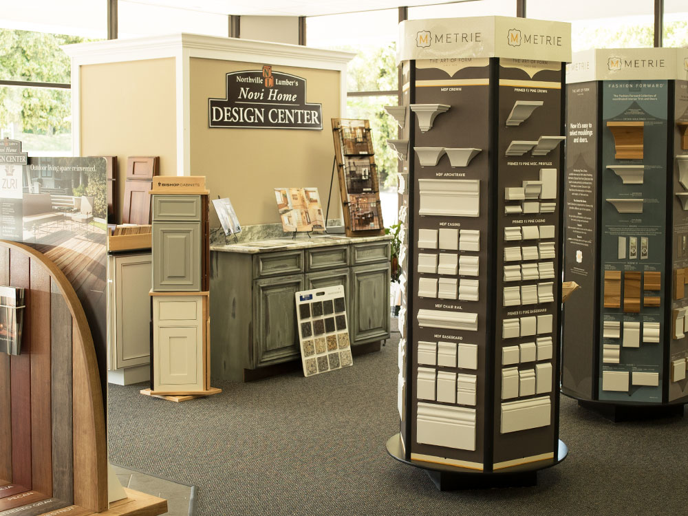 Novi Home Design Center interior showing trim displays